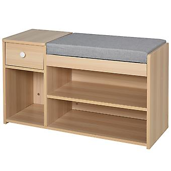HOMCOM Multi-Storage Shoe Bench w/ Drawer 3 Compartments Cushion Home Organisation Furniture Tidy Boots Hallway Brown