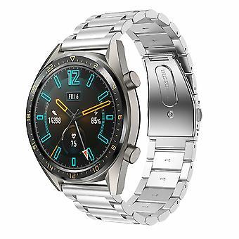 Voor Huawei Watch GT 2 46MM roestvrijstalen vervangende polsbandbandje[Zilver]
