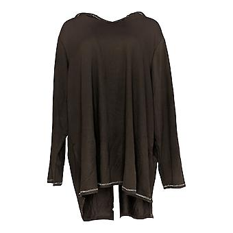 Quacker Factory Women's Plus Top Anytime Pullover Tunic Brown A346624