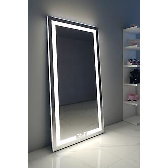 Aleesha Audio Espejo de piso de longitud completa con LED sin calor y luz diurna #128;™s