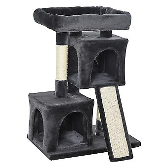 PawHut Cat Rest & Play Activity Tree w/ 2 House Cushion Perch Scratching Post Board Solid Frame Wide Base Tree Centre Dark Grey