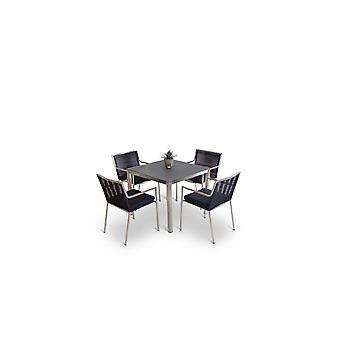 Rozsdamentes acél étkező csoport Bilbao 4 - fekete