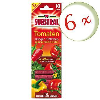 Sparset: 6 x SUBSTRAL® gödningsmedel ätpinnar för tomater, 10 stycken