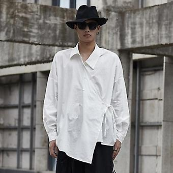 Zomer nieuwe trekkoord bandage onregelmatige grote grootte mannen shirt