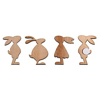 12 Small Wooden Easter Rabbits Embellishments - Adults Crafts