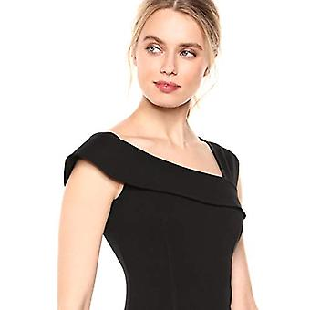 Brand - Lark & Ro Women's Asymmetrical Flounce Neckline Sheath Dress, Black, 12