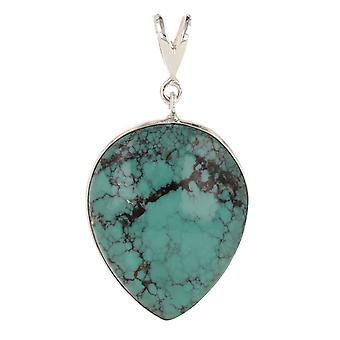 ADEN 925 Sterling Silver Turquoise Pendant Necklace (id 3939)