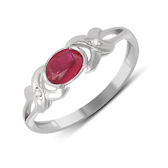 ADEN 925 Sterling Silver ruby ring (id 4514)