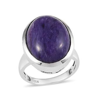 Solitaire AAA Charoite Ring Sterling Silver Platinum Plaqué , 15 Ct TJC