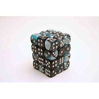 Chessex Gemini 12mm D6 Block - Black-Shell w/white