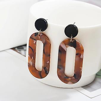 Brown Resin Acrylic Geometric Drop Earrings