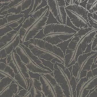 Elgin Tropical Leaf Wallpaper Leisteen/Gold Holden 65732