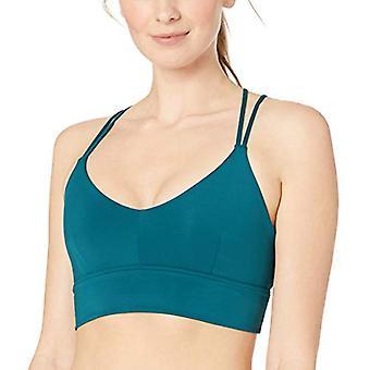 Brand - Core 10 Women's Strappy Longline Plunge Yoga Bralette Sports Bra , Teal, X-Small