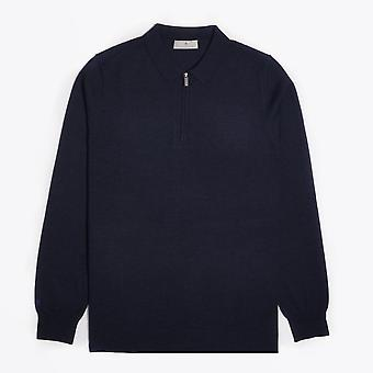 Thomas Maine  - Merino Half Zip Polo - Navy