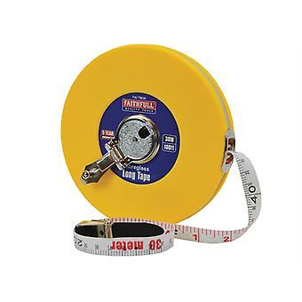 Faithfull Closed ABS Fibreglass Long Tape 30m/100ft (Width 13mm) FAITM30