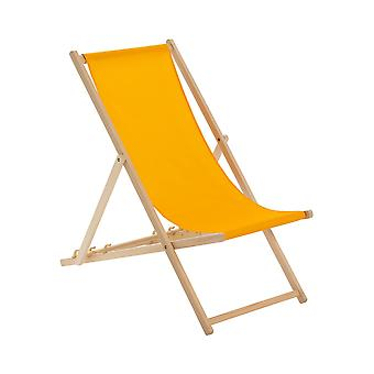 Traditional Adjustable Wooden Beach Garden Deck Chair - Orange