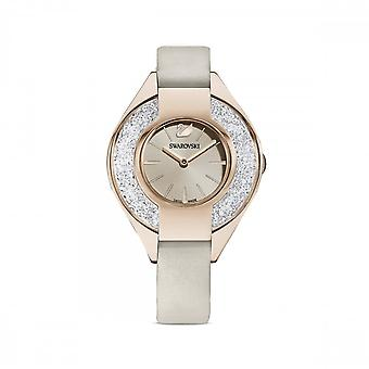 Swarovski Crystalline Sporty Leather Strap Grey Champagne Gold-tone White Watch 5547976