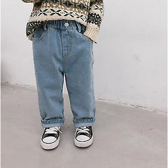 Winter Polar Fleece Lining Rolled, Warm Denim Pants Jeans/ Kids/