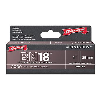 Arrow BN1816 Brad Nails 25mm White Head Pack 2000 ARRBN1816W