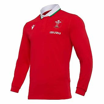 2020-2021 Wales Home LS Cotton Rugby Camisa
