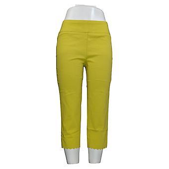 Nina Leonard Women's Pants Pull-On Scallop-Hem Cropped Yellow 660-168
