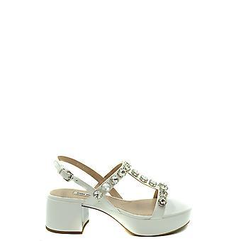 Miu Miu Ezbc057030 Sandalias de Cuero Blanco para Mujer y apos;s