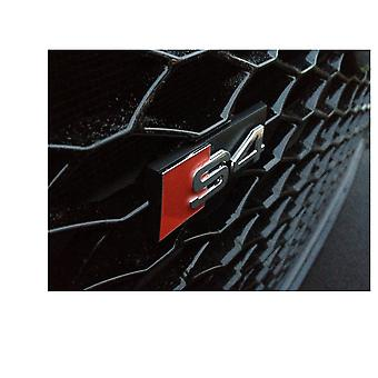 Black/Red/Silver Audi S4 Grill Badge Emblem With Clips