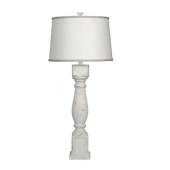 Distressed White Table Lamp with Ivory and Grey Shade