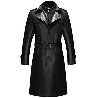 Graneur mens genuine full leather parka trench coat