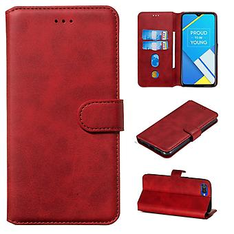For OPPO A1k / Realme C2 Classic Calf Texture Horizontal Flip PU Leather Case, with Holder & Card Slots & Wallet(Red)