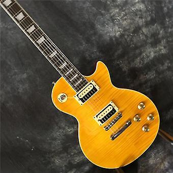 顶级高品质产品上市斜线吉他,火焰枫顶黄色身体