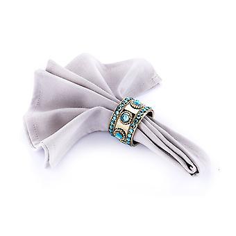 Obrúsky prsteň studed teal / antique gold - sada 4 kusy