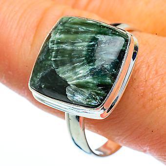 Seraphinite Ring Størrelse 12,75 (925 Sterling Sølv) - Håndlavet Boho Vintage smykker RING40451
