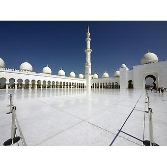 Patio interior de Sheikh Zayed Bin Al Sultan Nahyan Abu Dhabi Grand Mezquita de Emiratos Árabes Unidos impresión de póster