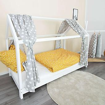 Puckdaddy House Bed Curtain Finja 146x298cm Conjunto de 2 Tecido Céu com Padrão de Estrelas em Cinza
