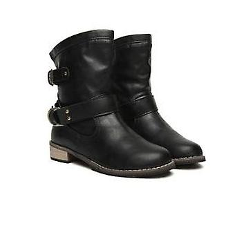 Femmes Winter Motorcycle Superstar Buckle Boots, Fashion Classic Pu Leather