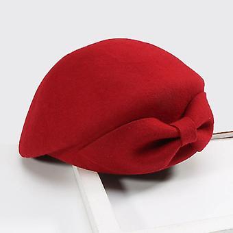 Vrouwen Vintage 100% wol vilt pillbox hoeden, Winter Fedoras Bow Beret Kerk Hoeden