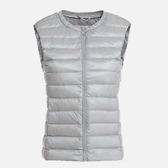 Autumn Duck Down Women's Short Vest Jacket Sleeveless, Portable Office Lady