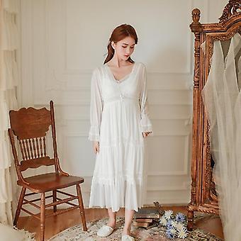 Soft Modal Donna Veste Set Primavera Autunno Vintage Principessa Lunga Sleepwear