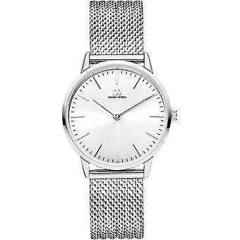 Dänisches Design Akilia Mesh Uhr - Silber/Weiß