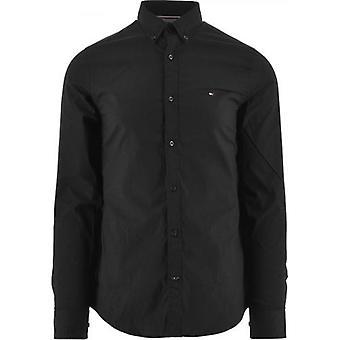 تومي هيلفيغر الأسود كور تمتد سليم تناسب قميص