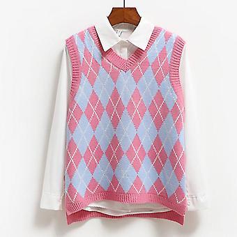 Gebreide vest, Casual Pullover Elasticity Sweater, Lente, Herfst Mouwloos
