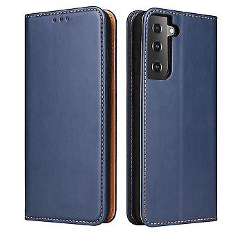 Para Samsung Galaxy S21+ Plus Case Leather Flip Wallet Folio Capa Azul