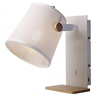 Mantra Nordica Ii Wall Bedside Light With Usb Socket White/beech With White Shade