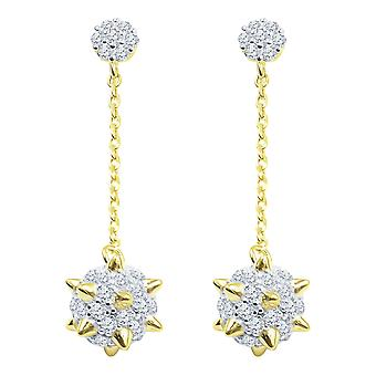 925 sterling silver bling cubic zirconia earrings - VASTY 7mm gold