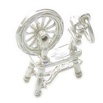 Rouet avec roue mobile Sterling Silver Charm .925 X 1 Couture - 4645