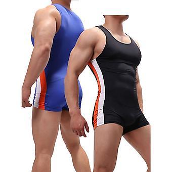 مثير الرجال وapos;ق undershirts jumpsuits قطعة واحدة المصارعة الفردية الملابس الداخلية الملاكمين