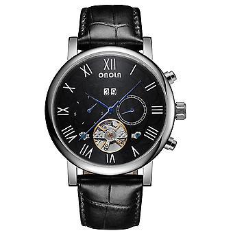 ONOLA ON6804 Moda Mężczyźni Automatyczny zegarek Data Wyświetlacz Wielofunkcyjny Skórzany St