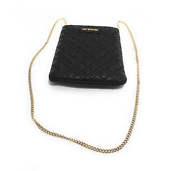 Damen Tasche Liebe Moschino Clutch mit gesteppten Schultergurt schwarz Bs21mo43 Jc4080