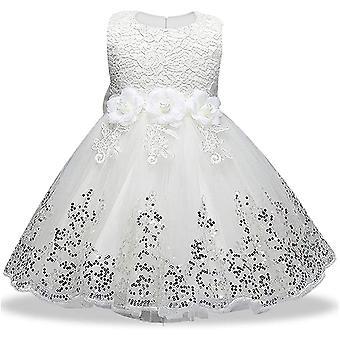 Robe formelle de princesse de baptême de bébé fille 575-blanc